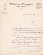 Couriier Philatélique Théodore Champion à Paris 1938 - Autres