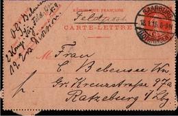 ! 1915 Feldpost, Ganzsache Frankreich, 1.Weltkrieg, Carte Lettre, Saarburg Lothringen Nach Ratzeburg, Lauenburger Jäger - France