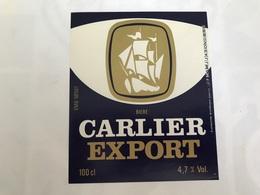 Ancienne Étiquette F2 BIÈRE CARLIER EXPORT  BRASSERIE JEANNE D'ARC NORD RONCHIN LILLE - Bière