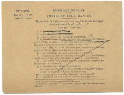 FASCICULE N° 1492 POSTES ET TELEGRAPHES / RENVOI DE LA VALEUR AU MOTIF LE DEBITEUR EN A REFUSE LE PAYEMENT - Documents Of Postal Services