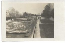 CARTE-PHOTO WW1 AISNE 01 Occupation Péniches Allemandes Sur Le  Canal De L'Aisne - France
