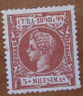1898 CUBA Re Alfonso XIII - 5m Usato - Oblitérés
