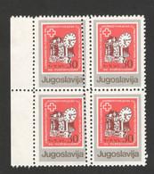 YUGOSLAVIA-MNH** BLOCK OF 4 STAMPS - ERROR ON PERFORATION-RED CROSS - LOOK SCAN -1987. - 1945-1992 République Fédérative Populaire De Yougoslavie
