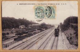 X91061 BRETIGNY-sur-ORGE Essonne Locomotive Les Chantiers Du Chemin De Fer Cptrain 1906 à Paul RIPAUX Montargis-C.L.C 2 - Bretigny Sur Orge