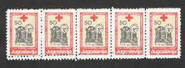 YUGOSLAVIA-MNH**  STRIP OF 5 STAMPS - ERROR ON PERFORATION - RED CROSS - LOOK SCAN -1988. - 1945-1992 République Fédérative Populaire De Yougoslavie