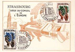 """"""" EUROPA 1957 : CONSEIL DE L'EUROPE / STRASBOURG """" Sur Carte Maximum De 1957. N° YT 1122 1123. Parfait état. CM - 1957"""