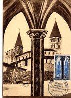 """"""" EGLISE ST-PHILIBERT / TOURNUS """" Sur Carte Maximum De 1954. N° YT 986. Parfait état. CM - 1957"""
