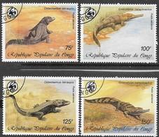 Congo  1987  Sc#C367-70   WWF  Crocs Airmail Set Used    2016 Scott Value $7.10 - Used Stamps