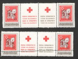 YUGOSLAVIA-MNH**  STRAIP OF 4 STAMPS (STAMPS+LABELS) - ERROR ON PERFORATION - RED CROSS - LOOK SCAN -1987. - 1945-1992 République Fédérative Populaire De Yougoslavie