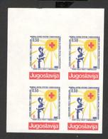 YUGOSLAVIA-MNH**  BLOCK OF 4 IMPERFORATED STAMPS - ERROR - RED CROSS - LOOK SCAN -1990.-GL - 1945-1992 République Fédérative Populaire De Yougoslavie
