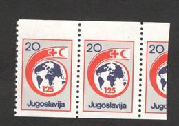 YUGOSLAVIA-MNH**  PAIR , 20 DIN - ERROR ON PERFORATION- RED CROSS - LOOK SCAN -1988.(2) - 1945-1992 République Fédérative Populaire De Yougoslavie