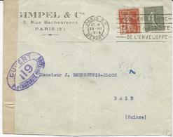 LETTRE CENSUREE POUR LA SUISSE 1918 AVEC 2 TIMBRES AU TYPE SEMEUSE DONT SURTAXE CROIX ROUGE - Marcophilie (Lettres)
