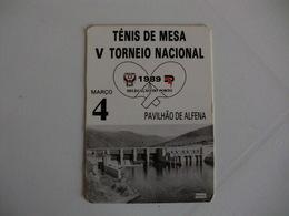 Energy Energia E.D.P. Ténis De Mesa Ténis De Mesa Ping Pong Pavilhão De Alfena Portugal Portuguese Pocket Calendar 1989 - Calendriers