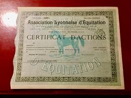ASSOCIATION  LYONNAISE  D' ÉQUITATION -------- Certificat  D' Actions - Sports