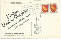 CARTE POSTALE 1956 AU TARIF IMPRIMES POUR L'ITALIE AVEC 2 TIMBRES BLASON D'AUNIS - 1921-1960: Moderne