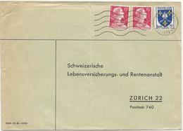 LETTRE 1957 POUR LA SUISSE AVEC 3 TIMBRES BLASON DE SAINTONGE / MARIANNE DE MULLER - 1921-1960: Moderne