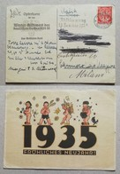 Cartolina Augurale Opferkarte Munster-Milano - 29/12/1934 Plebiscito Della Saar - Germany