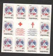 YUGOSLAVIA-MNH** BLOCK OF 10 IMPERFORATED STAMPS + 2 LBAELS   , 40 DIN - ERROR - RED CROSS - LOOK SCAN -1987.(19) - 1945-1992 République Fédérative Populaire De Yougoslavie