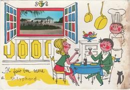 44 Saint LYPHARD Où Il Fait Bon Vivre Couple Au Restaurant Avec Chat Noir Photo Dans Fenêtre Illustrateur ? - Saint-Lyphard