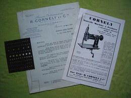 Facture Pub échantillons Machine à Perforer Le Cuir Cornely & Cie Paris - Publicités