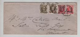 REF496/ TP 191-245-246-247 Albert Houyoux S/L.c.Bruxelles Midi 17/10/1927 > Solre St.Géry Via Beaumont - Brieven En Documenten