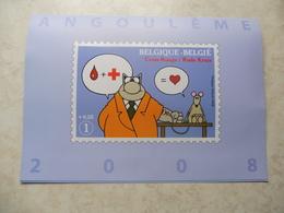 Belgique Belgie Farde Souvenir Numerotée Bd Le Chat Avec Fdc Et First Day Sheet Et Timbre Oblitéré Numero 3747 - FDC