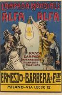 Pubblicitarie - Publicitè - Advertising - Lampada Mondiale Alfa Alfa - Milano - F. Piccolo - Publicité