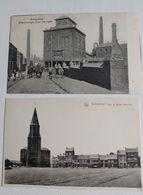 """DAMPREMY, 2 Cartes Postales , """"Place Et église Catholique"""" , """"Charbonnage Fond Des Piges"""" - Charleroi"""