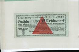 KRIEGSGEFANGENEN LAGERGELD Gutfchein über 2 Reichsmark  (Billet Camp De Prisonniers -guerre 1939-1945 - (cahier Noir 3) - [ 4] 1933-1945 : Terzo  Reich