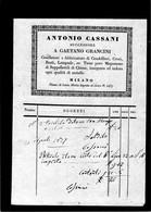 CG - Fattura Ditta Antonio Cassani - Milano - Cesellatore Di Candelieri, Croci, Busti Ecc. 13/4/1877 - Italia