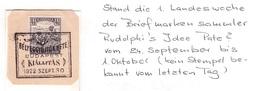 UNGARN - 2 VIGNETTEN 1922 + 1925 TAG DER BRIEFMARKE /ak501 - Briefe U. Dokumente