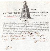 CG - Fattura Ditta A.M. Tognetti Vidova Chiesa - Millano 2/3/1839 - Vendita Di Telerie, Cotonerie Ecc. - Italië