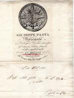 CG - Fattura Ditta Giuseppe Pasta - Milano 17/2/1837 - Cotonerie, Telerie E Lanerie. - Italië