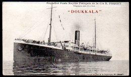"""Old Postcard,Paquebot """"DOUKKALA"""",Poste Rapide Francais De La Cie N. Paquet, Unused - Steamers"""