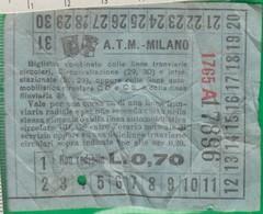 Biglietto. A. T. M. Bus. Tram, Trasporto. Milano. Anni '30 - World