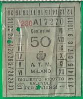 Biglietto. A. T. M. Bus. Tram, Trasporto. Milano. Anni '30 - Tram