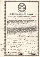 CG - Fattura Ditta Gaetano Giussani E Comp.°- Milano 8/1/1835 - Fabbrica Di Spallini, Dragone Ecc. Ecc. - Italia