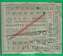 Biglietto. A. T. M. Bus. Tram, Trasporto. Milano. S.A.C. Anni '30 - Tram