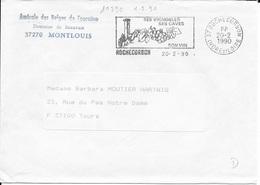 INDRE ET LOIRE 37   -   ROCHECORBON    - FLAMME N° 10590  SES VIGNOBLES SES CAVES SON VIN    - 1990 -  EN PORT PAYE - Maschinenstempel (Werbestempel)