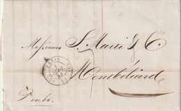 Frankreich / 1844 / Vorphila-Brief K2 PARIS, Rs. K2 MONTBELIARD (AJ33) - Postmark Collection (Covers)