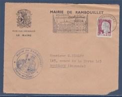 = Mairie De Rambouillet Sur Devant D'enveloppe N°1263 Flamme Résidence Présidentielle Rambouillet 18.5.61 - France