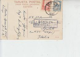 """SPAGNA  1931 - Cartolina Per Italia  """"CENSURA MILITARE"""" - 1931-50 Storia Postale"""