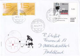 Switzerland 2009 Cover To Germany: Ice Hockey Sur Glace Eishockey: IIHF World Championship; Skate - Eishockey