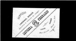 CG - Fatt. Impresa Ferrario - Lugano E Cernobbio 9/7/1893 - Servizio Landeaux, Breack., Omnibus E Vetture Da Viaggio - Italia