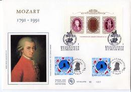 Enveloppe - Souvenir Numéroté (N° 1051)  MOZART 1791-1991  - N° 2695 + Bloc Autrichien - 1990-1999
