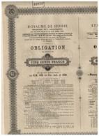 Obligation  Ancienne - Royaume De Serbie - Emprunt  4 % Amortissable 1895 - - Actions & Titres