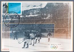 Switzerland 2002 Maximum Card Ice Hockey Sur Glace Eishockey: Olympic Games 2002 Salt Lake City; Special Flight Swissair - Eishockey