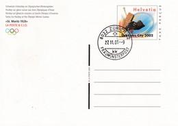 Switzerland 2002 Postal Stationery Card Ice Hockey Sur Glace Eishockey: Olympic Games 2002 Salt Lake City - Eishockey
