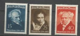 Danzig  1938 Mi.Nr.: 281-283 Schopenhauer   Mint  Hinged X - Danzig