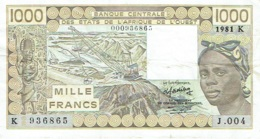1000 (Mille) Francs. Banque Centrale Des Etats De L'Ouest. 1981. - Stati Dell'Africa Occidentale